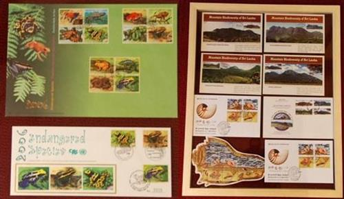 Commemorative IBD stamps and souvenir postcards from Sri Lanka Secretariat of the Convention on Biological Diversity
